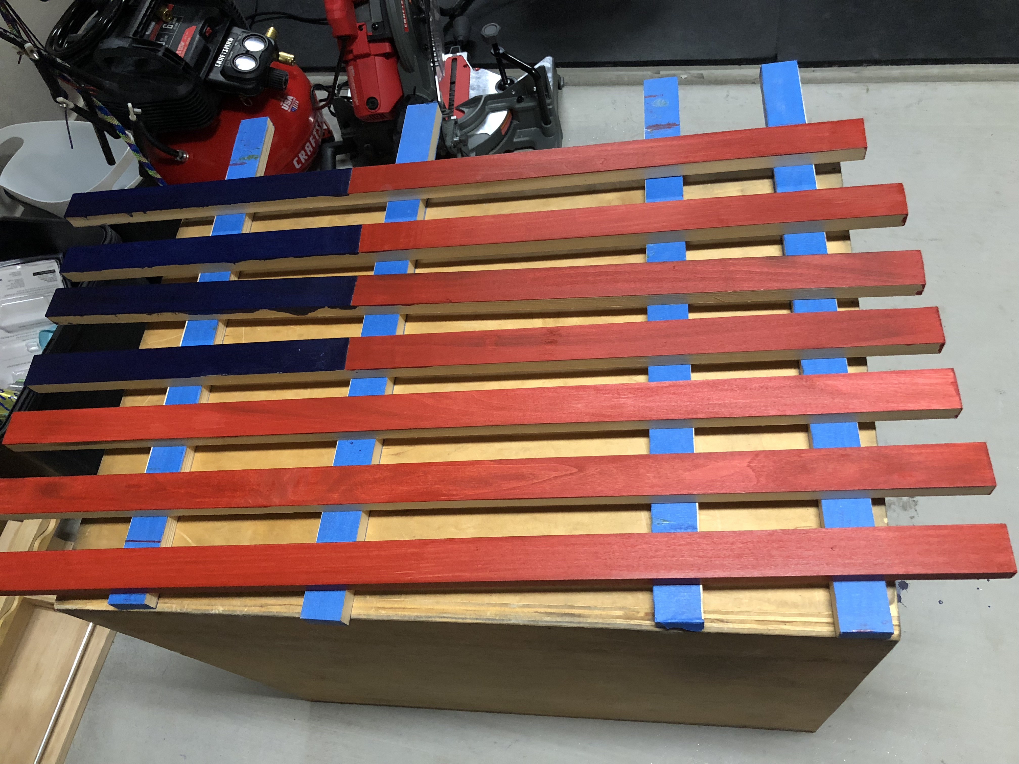 Hand Built Wooden American Flag